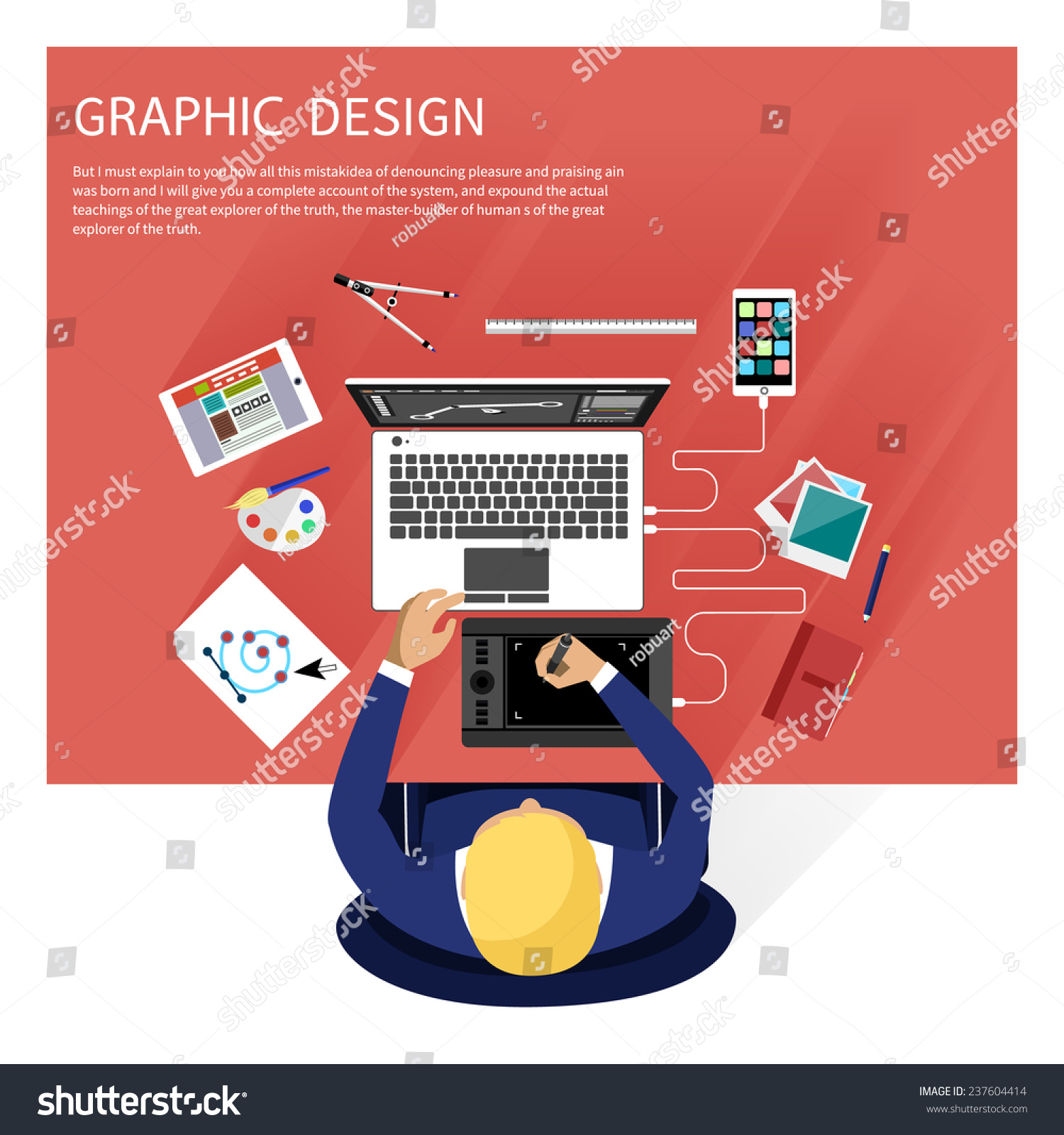 Concept For Graphic Design, Designer Tools And Software In