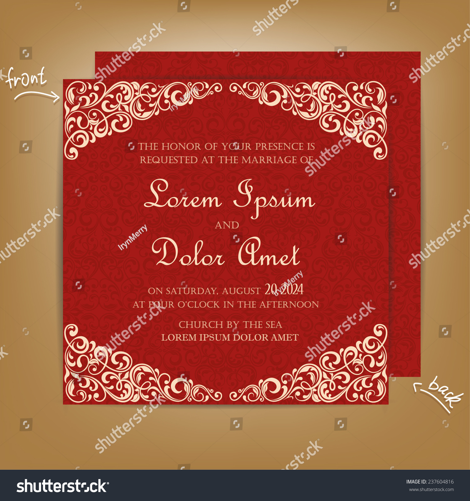 Red Vintage Wedding Invitation Card Stock Vector (2018) 237604816 ...
