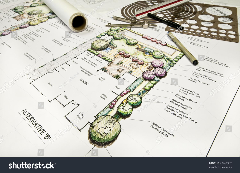 Residential back yard landscape design drafting stock for Garden design equipment