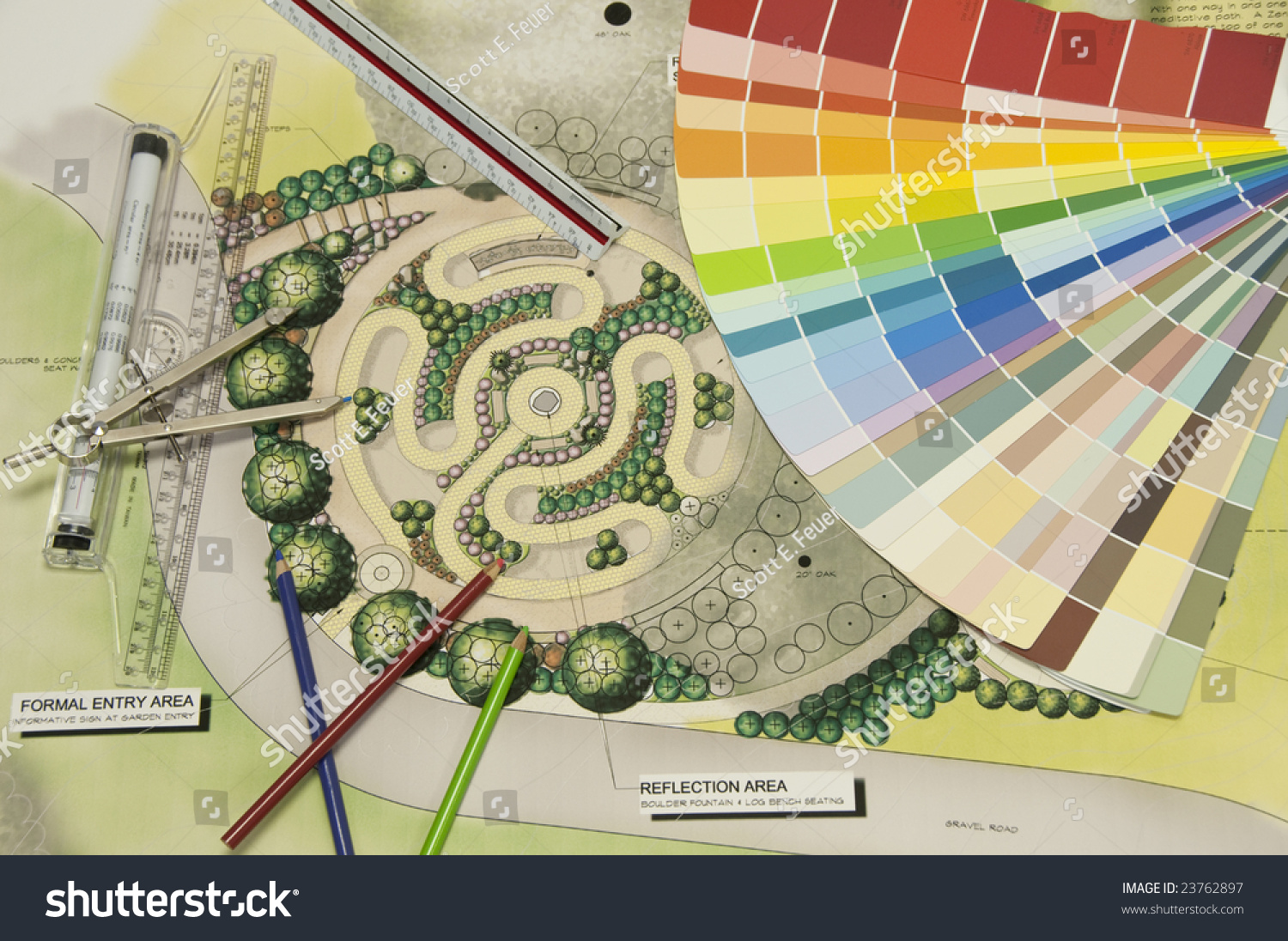 labyrinth landscape design with a color wheel and drafting