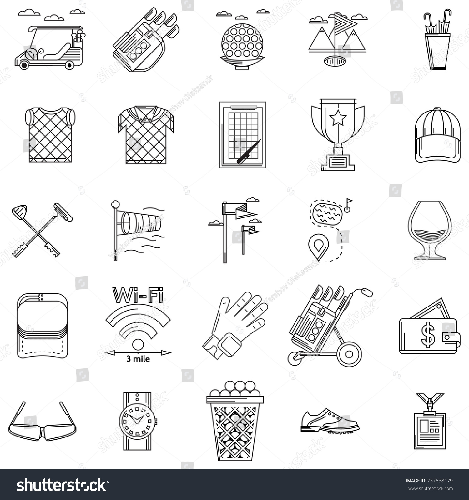 Black contour vector icons golf black stock vector 237638179 black contour vector icons for golf black outline icons vector collection of elements and symbols biocorpaavc Gallery