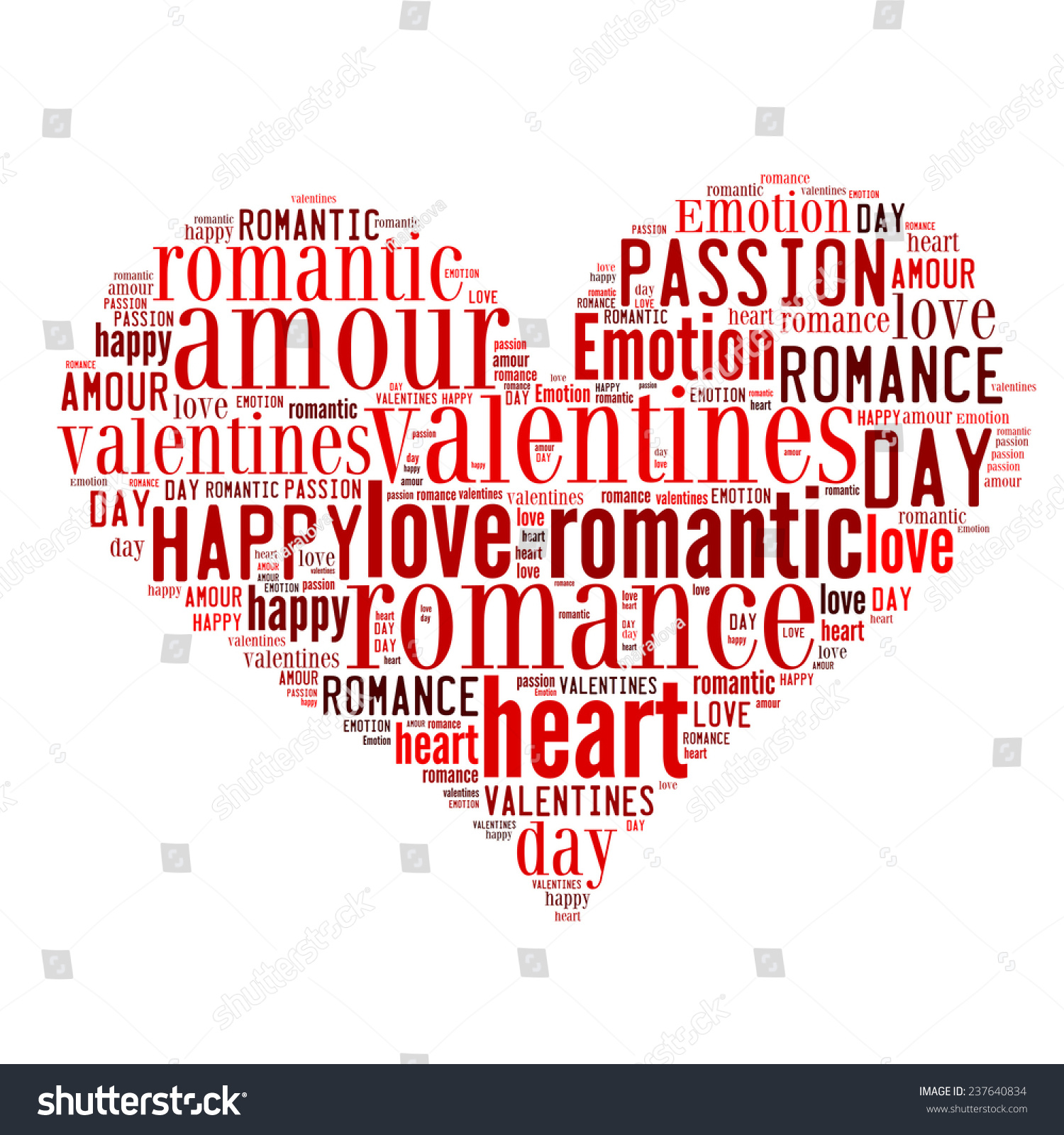 heart made words valentines day design stock illustration 237640834