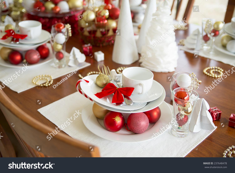 christmas table setting new year table setting & Christmas Table Setting New Year Table Stock Photo 237648478 ...