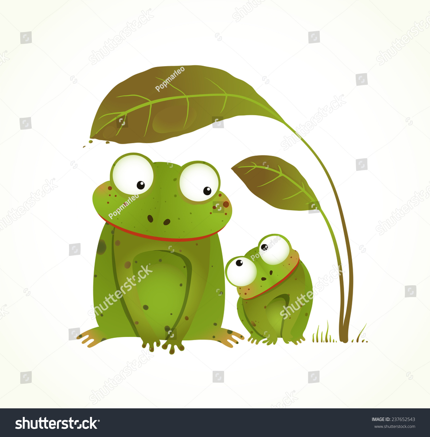 two frogs mother baby childish animal stock illustration 237652543