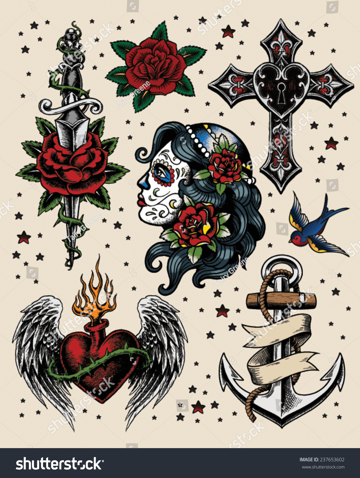 Illustration Tattoos: Tattoo Flash Illustration Set Stock Vector 237653602