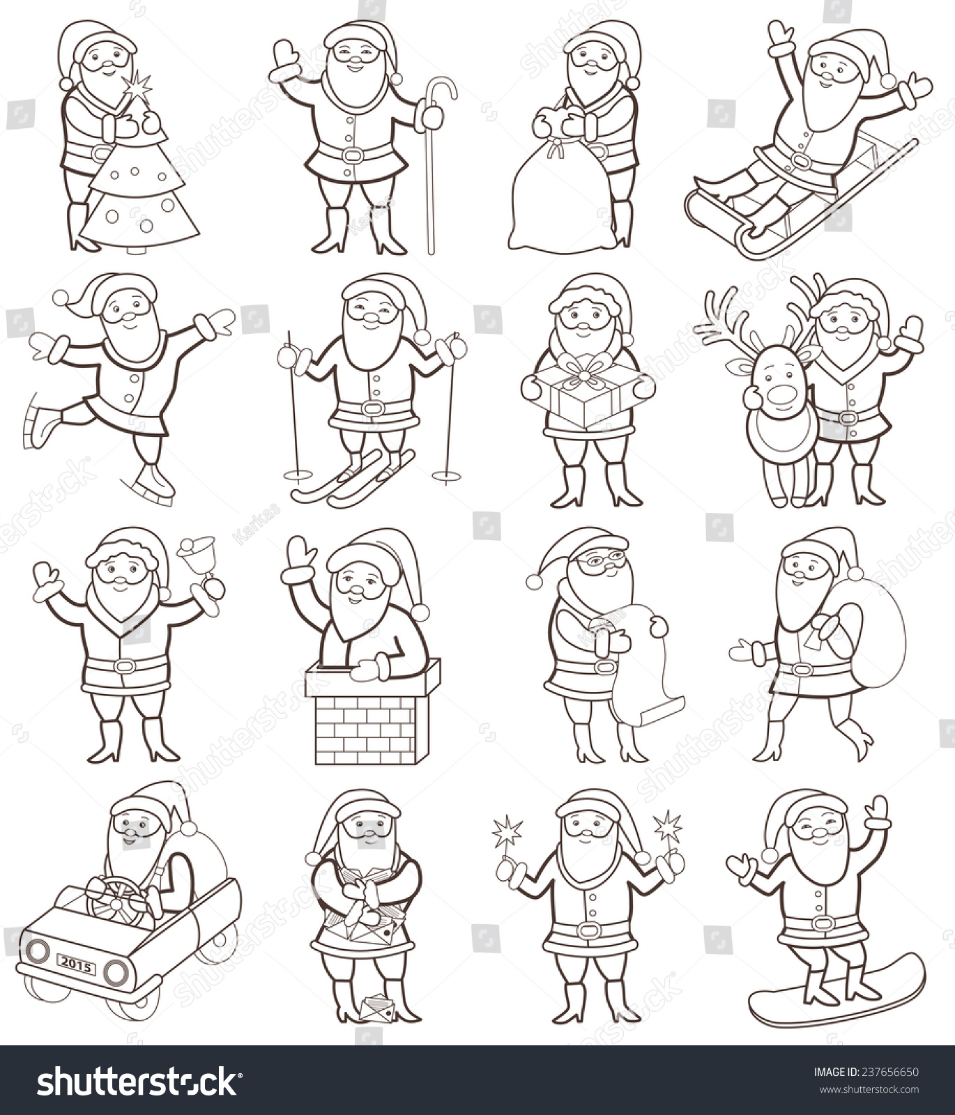 set of christmas icons with santa claus coloring book - Santa Claus Coloring Book
