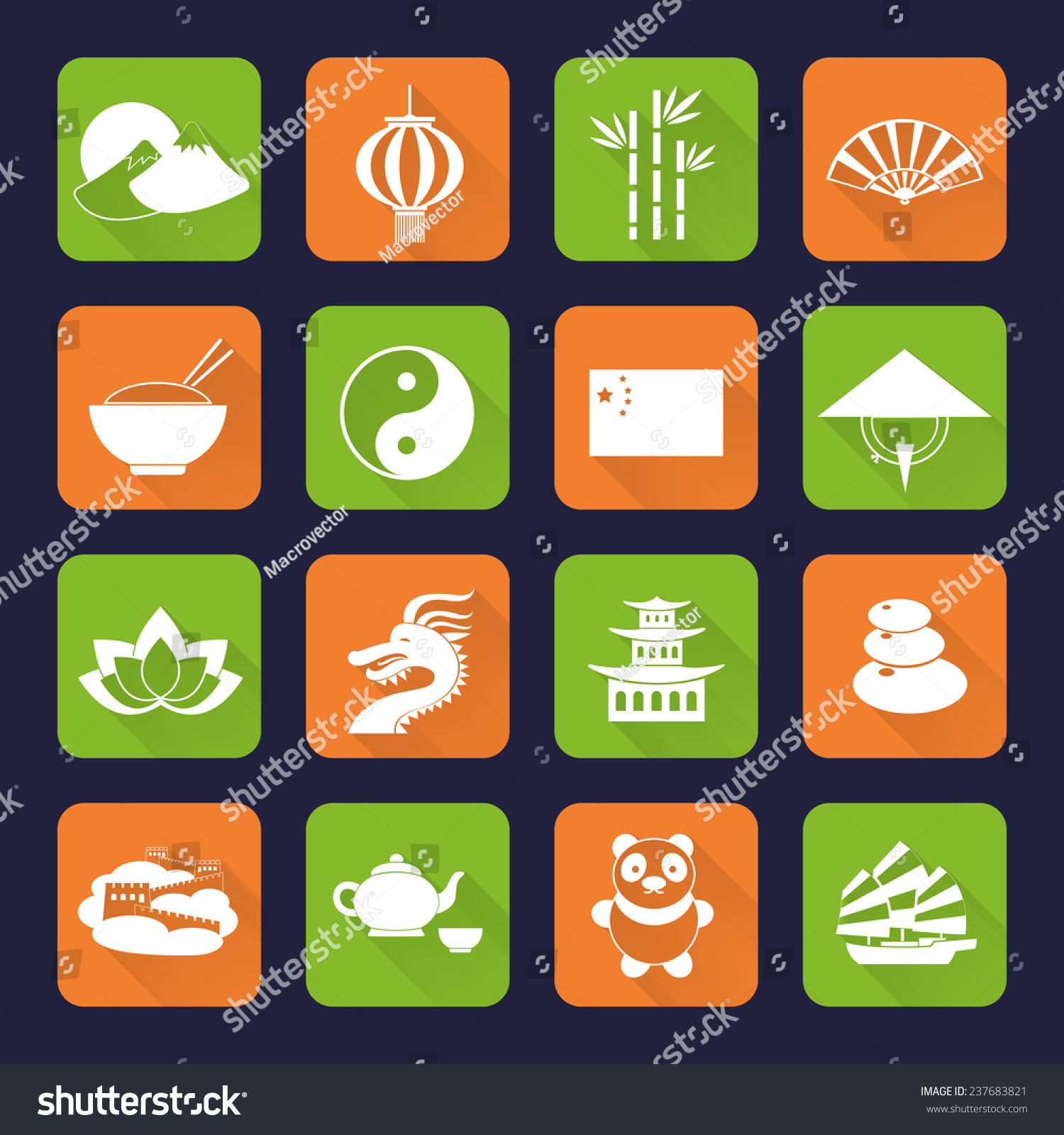 China Travel Traditional Culture Symbols Flat Stock Illustration