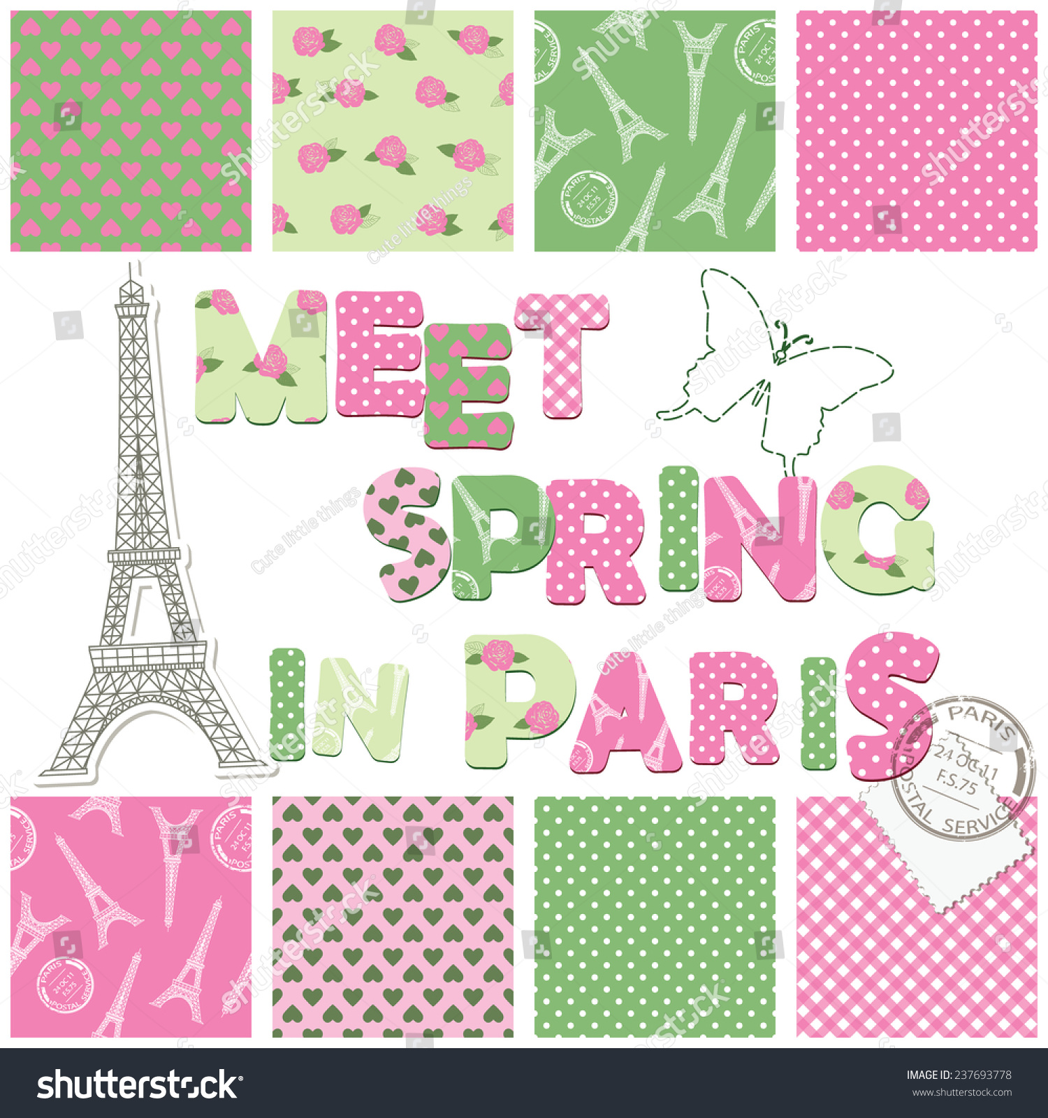 How to scrapbook letters - Scrapbook Design Elements Seamless Textile Patterns Letters Eiffel Tower Stamp Stitching