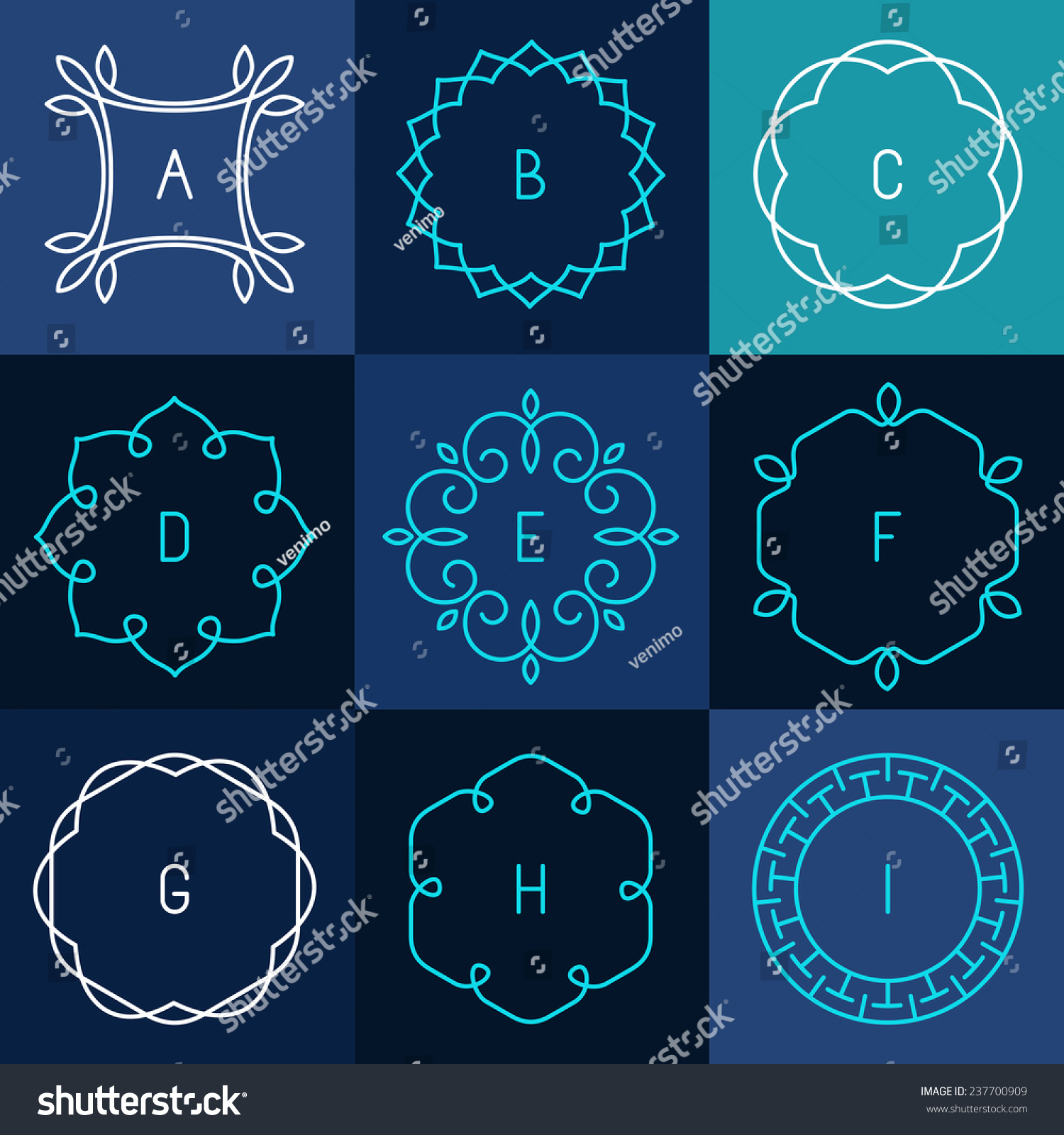 Graphic Design Elements Line : Vector set of abstract frames and logo templates in line