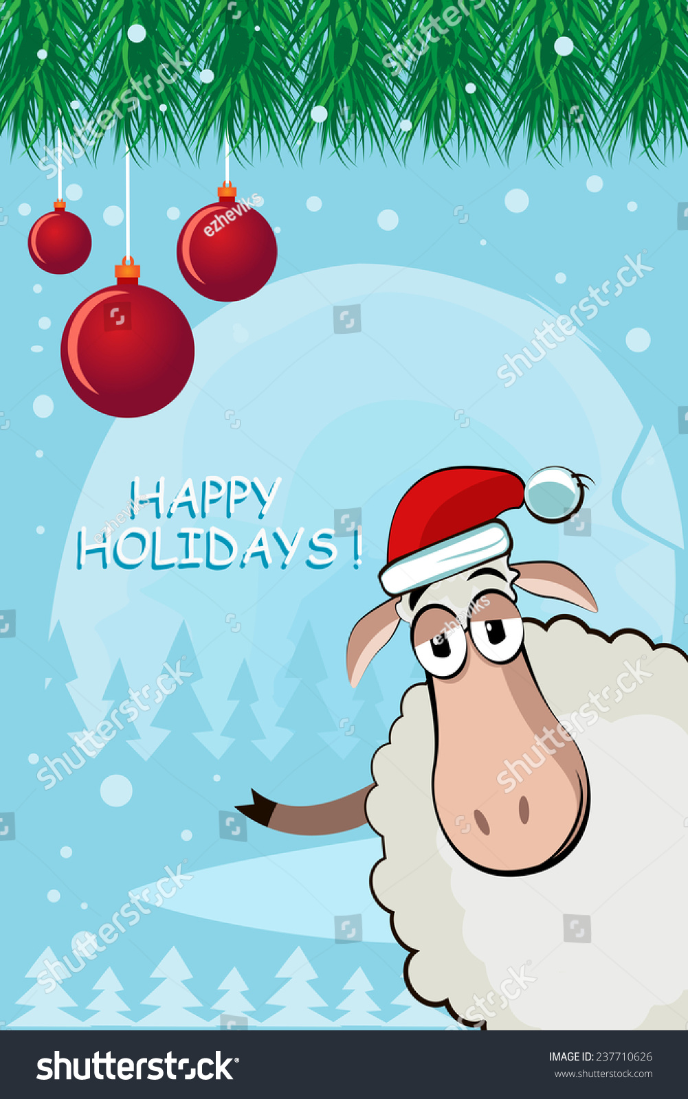 Greeting christmas card funny sheep symbol stock illustration greeting christmas card with funny sheep a symbol of 2015 kristyandbryce Image collections