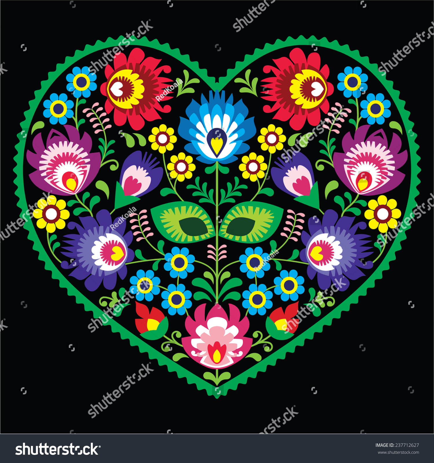Polish Folk Art Art Heart Flowers Stock Vector Royalty Free
