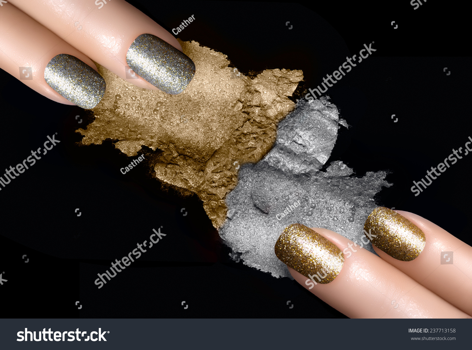 Festive Nail Art Fingers Trendy Gold Stock Photo Edit Now