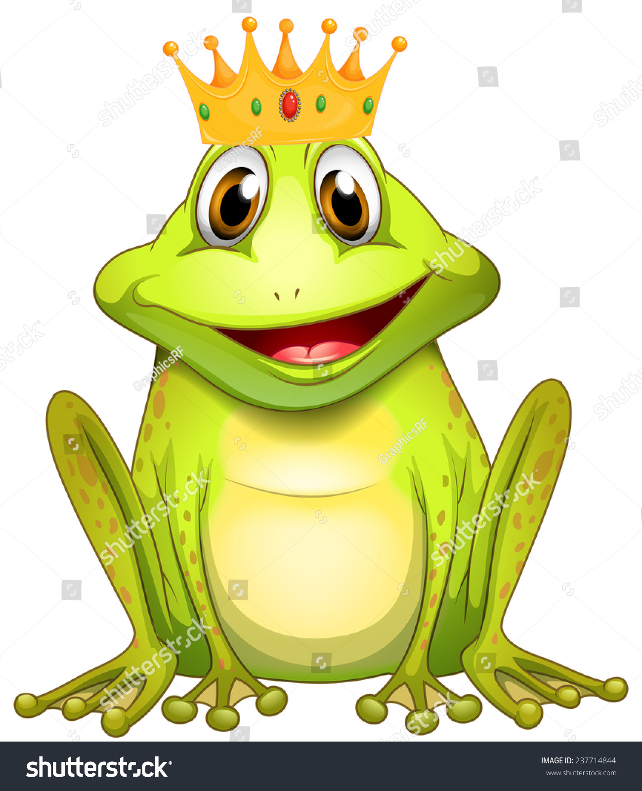 poster green frog prince crown stock vector 237714844