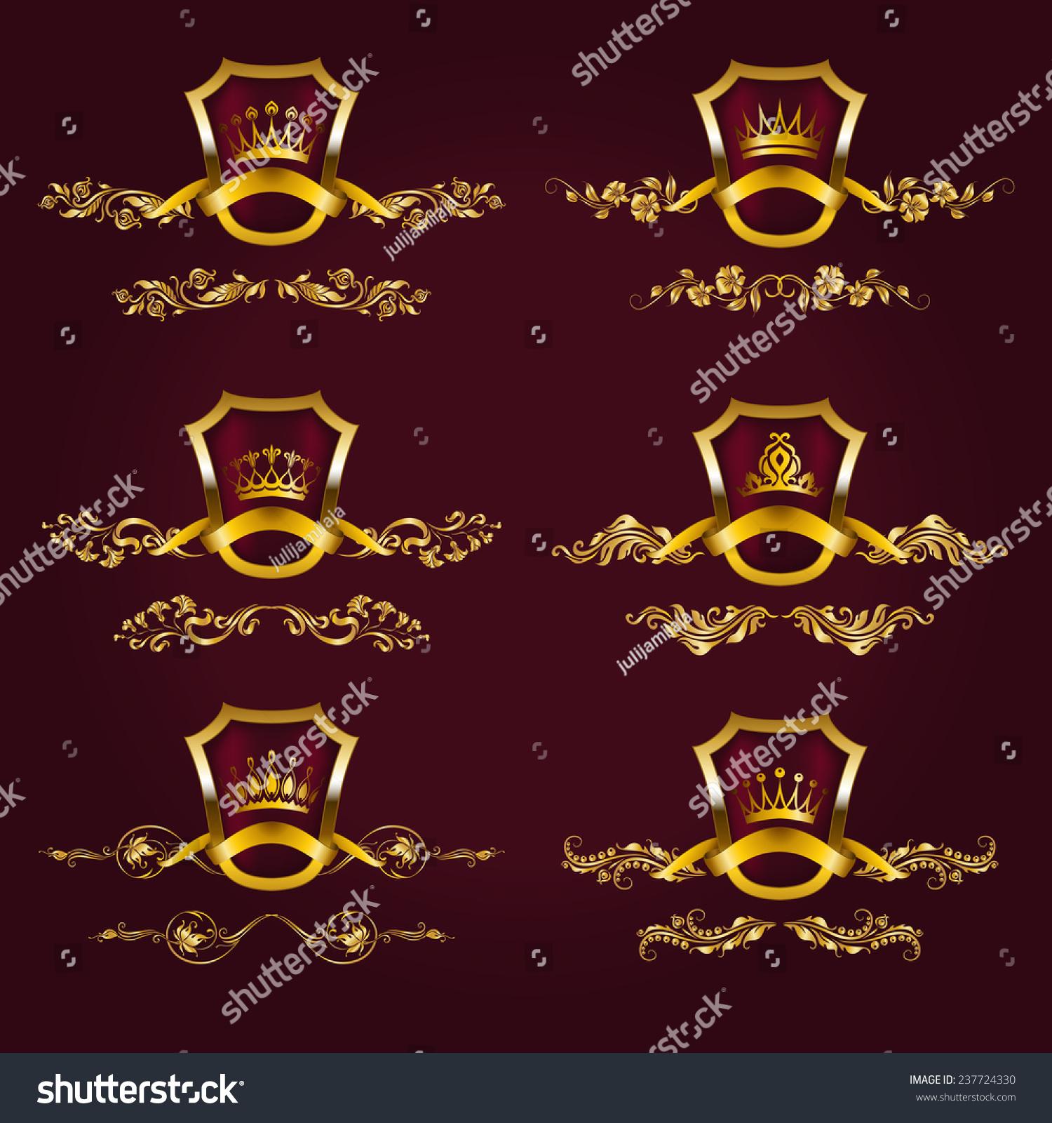 Set Luxury Gold Borders Frames Design Stock Vector 237724330 ...