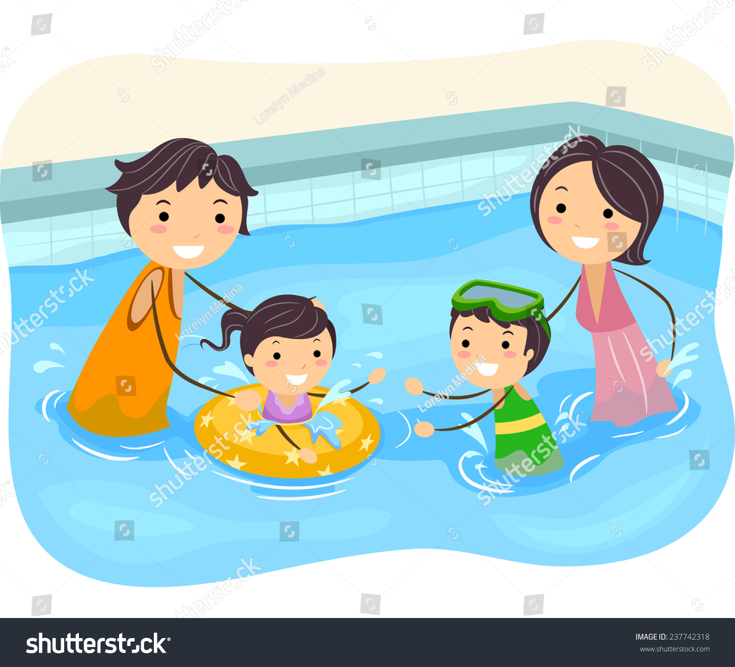 Illustration Family Playing Swimming Pool Stock Vector 237742318 Shutterstock