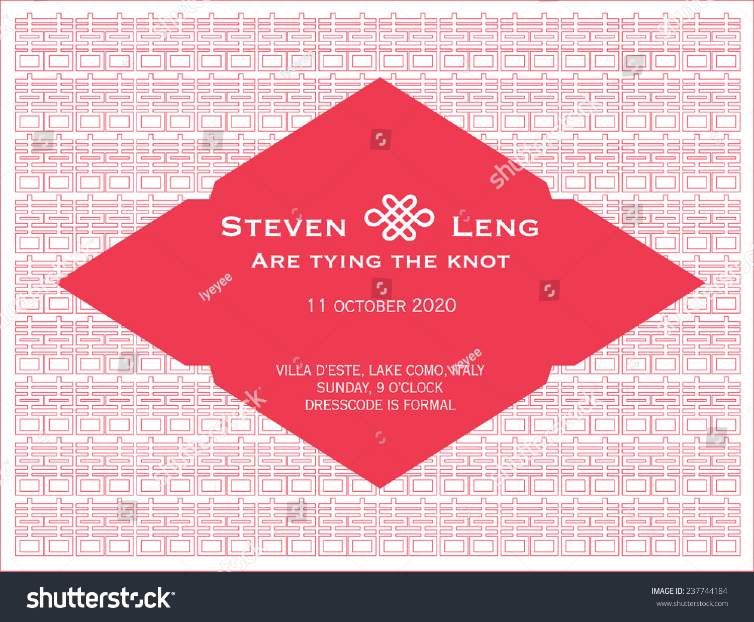 Chinese Wedding Invitation Card Template Chinese Stock Vector ...