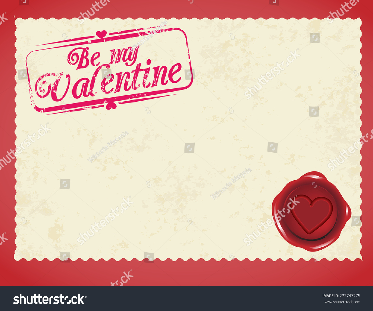 Valentines Day Love Post Card Blank Stock Vector 237747775   Shutterstock