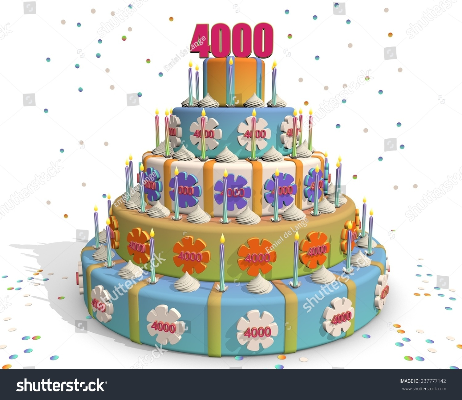 Party Cake Confetti Flowers Candles On Stock Illustration 237777142