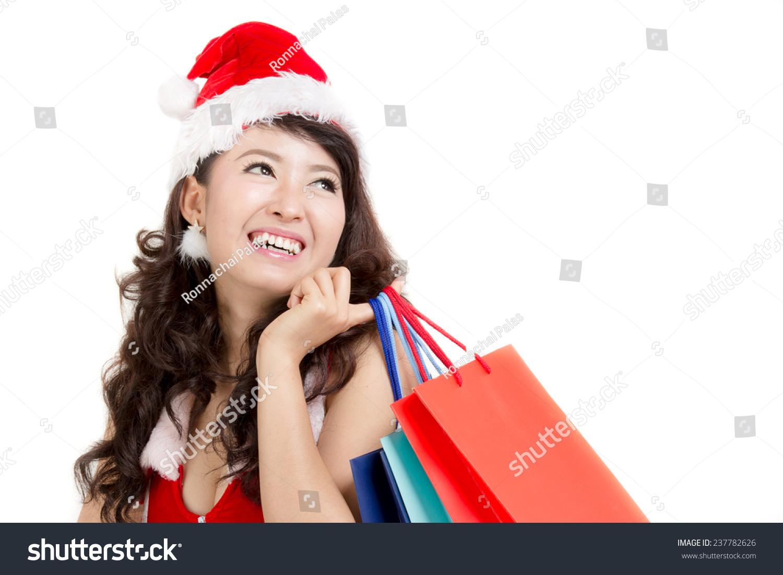 6b646c48cf75d Asian Woman Santa Dress Holding Colorful Stock Photo (Edit Now ...