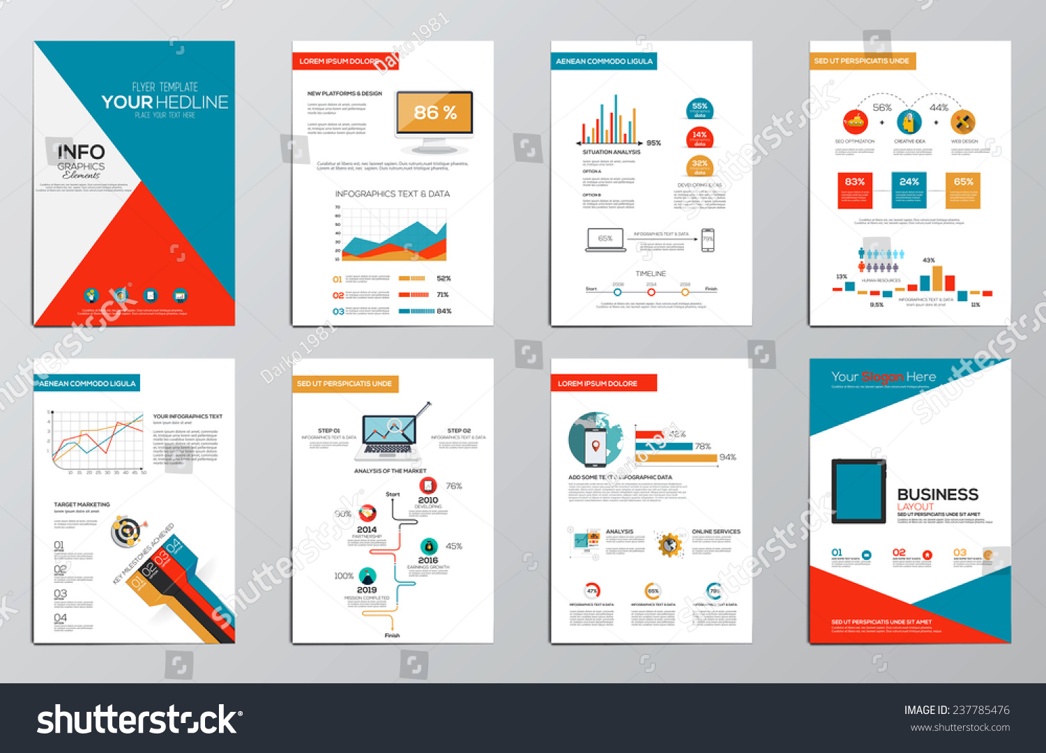 Business Infographics Elements Corporate Brochures Flat ...
