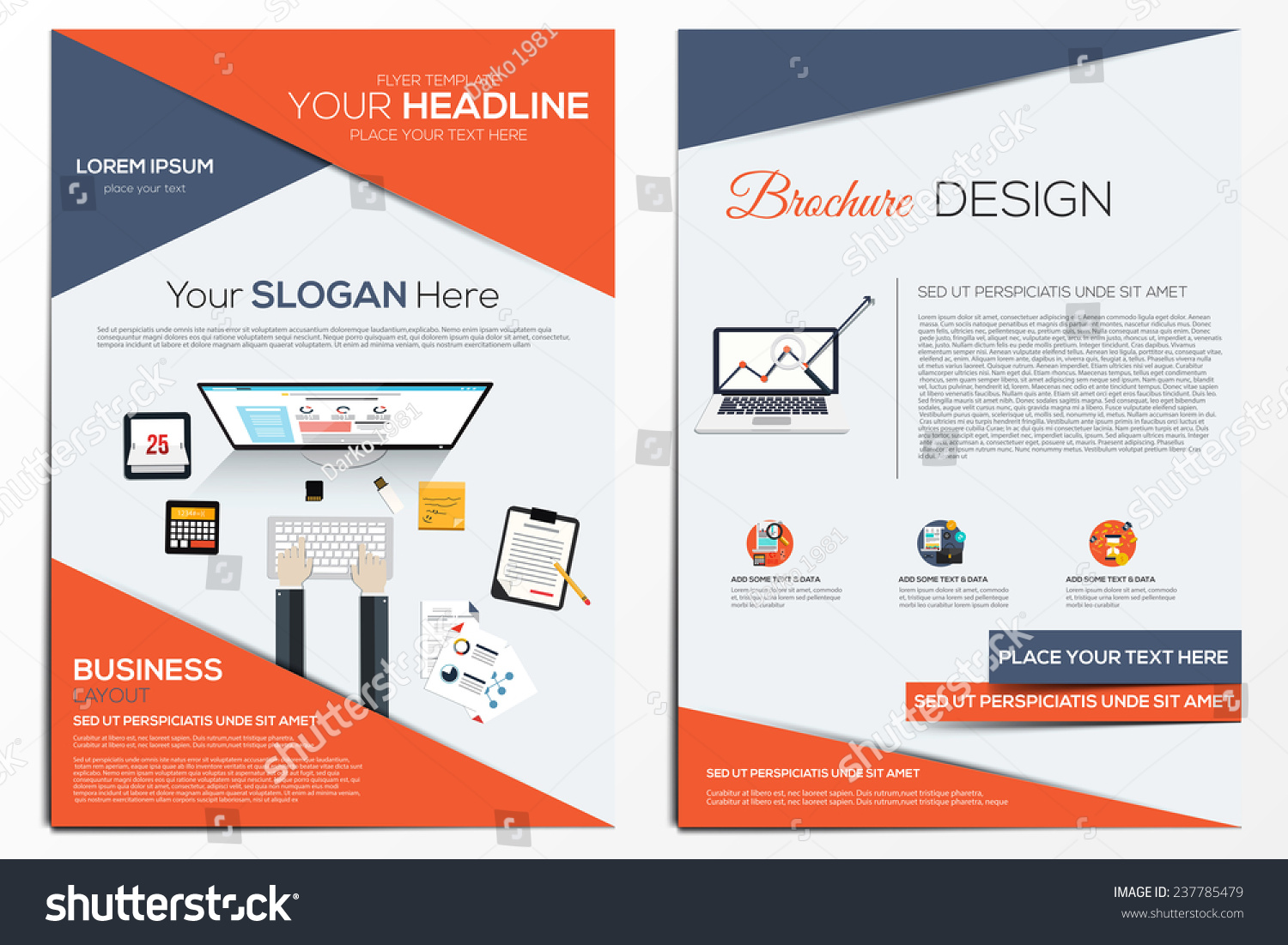 Brochure design template abstract modern backgrounds stock for Web design brochure template