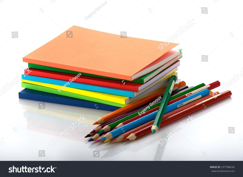 Horizontal Shot Pile Multicolored Workbooks Twelve Stock Photo ...