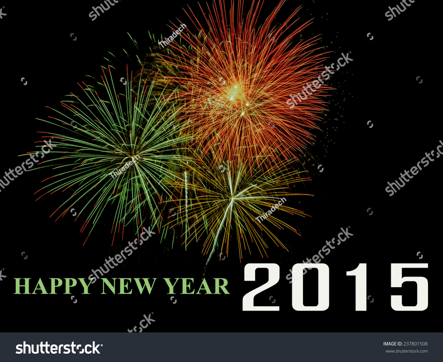 new year 2015 fireworks on black stock photo 237801508