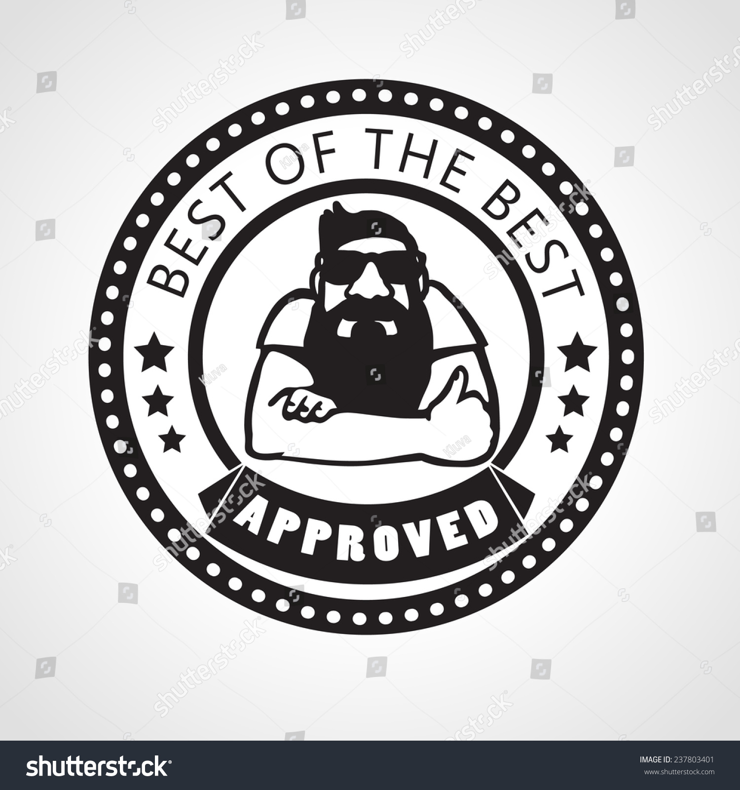 Vector approved stamp best of the best label with beard man approving with thumb up