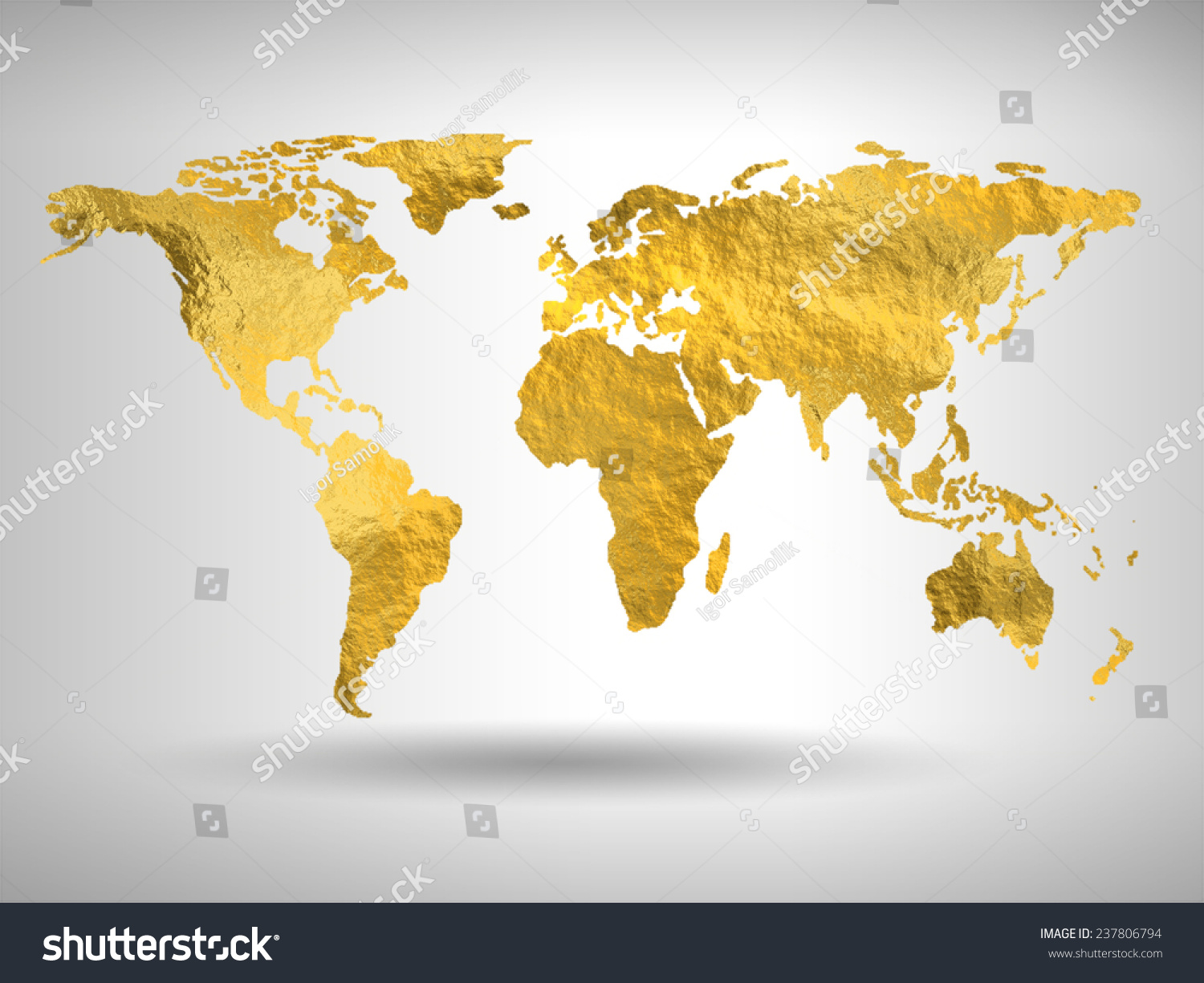 Gold world map stock illustration 237806794 shutterstock gold world map gumiabroncs Image collections