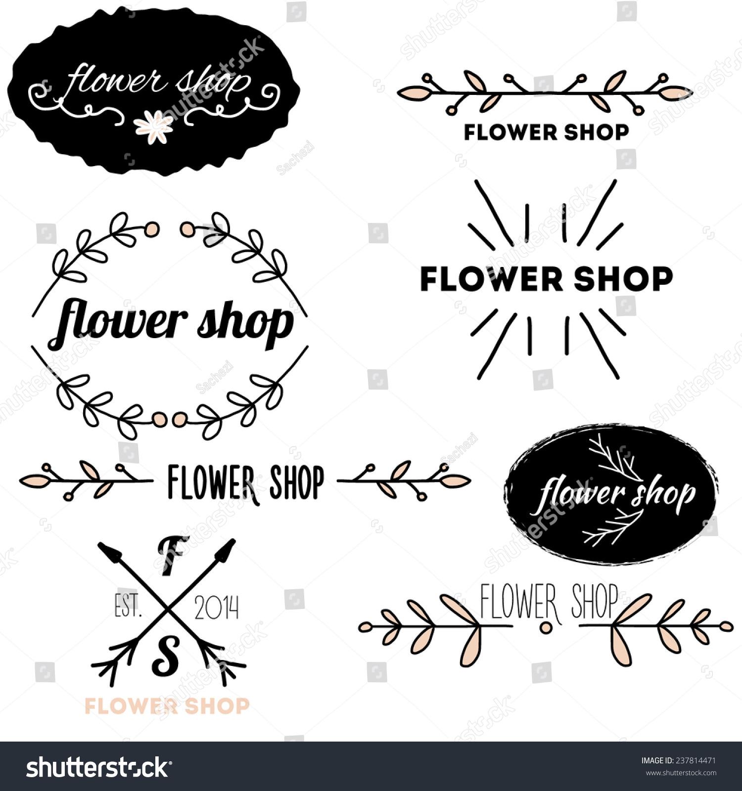 Vintage Logo For Flower Shop Vector Set