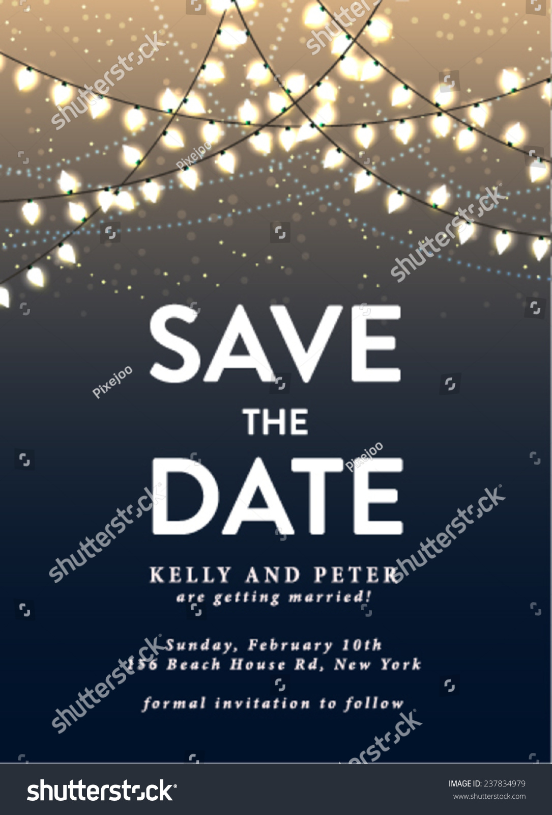 Save date invitation card holiday lights stock vector 237834979 shutterstock for Save the date vector