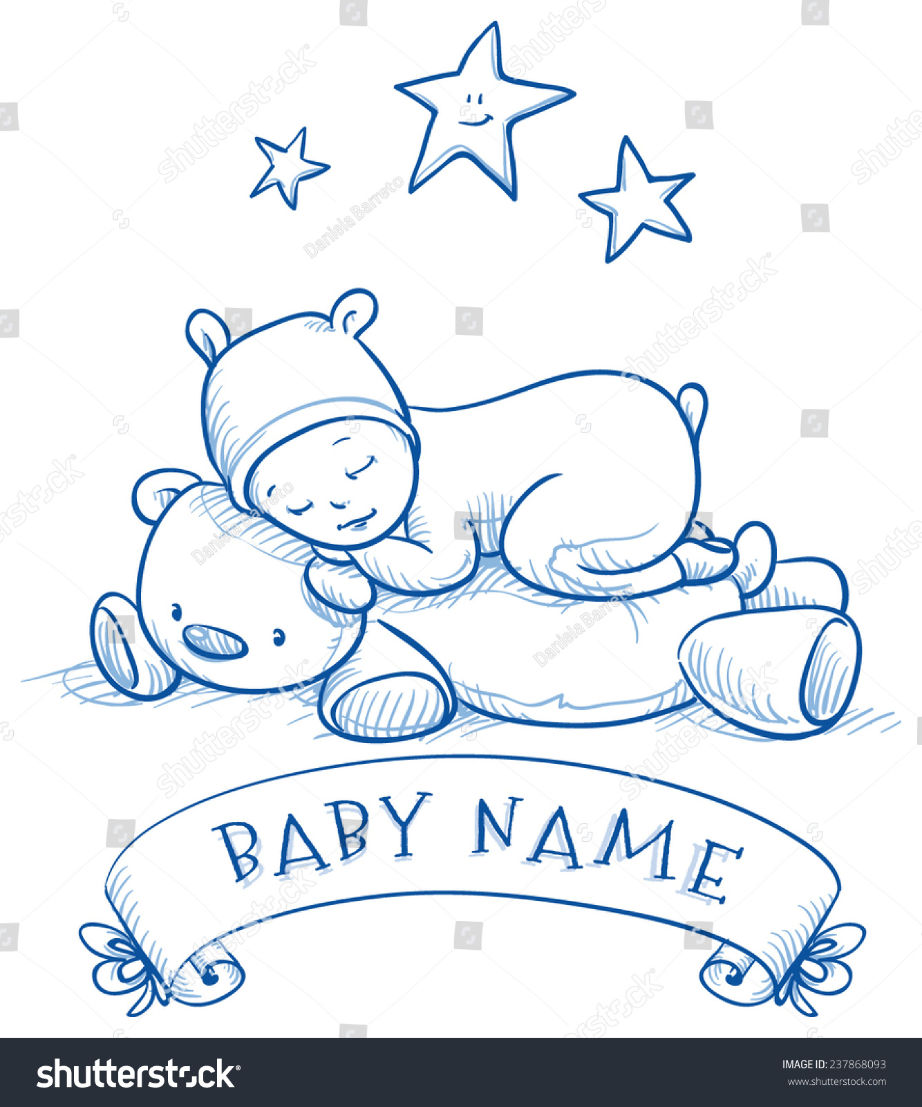 Baby Shower Cute Baby Sleeping On Stock Vector Royalty Free 237868093