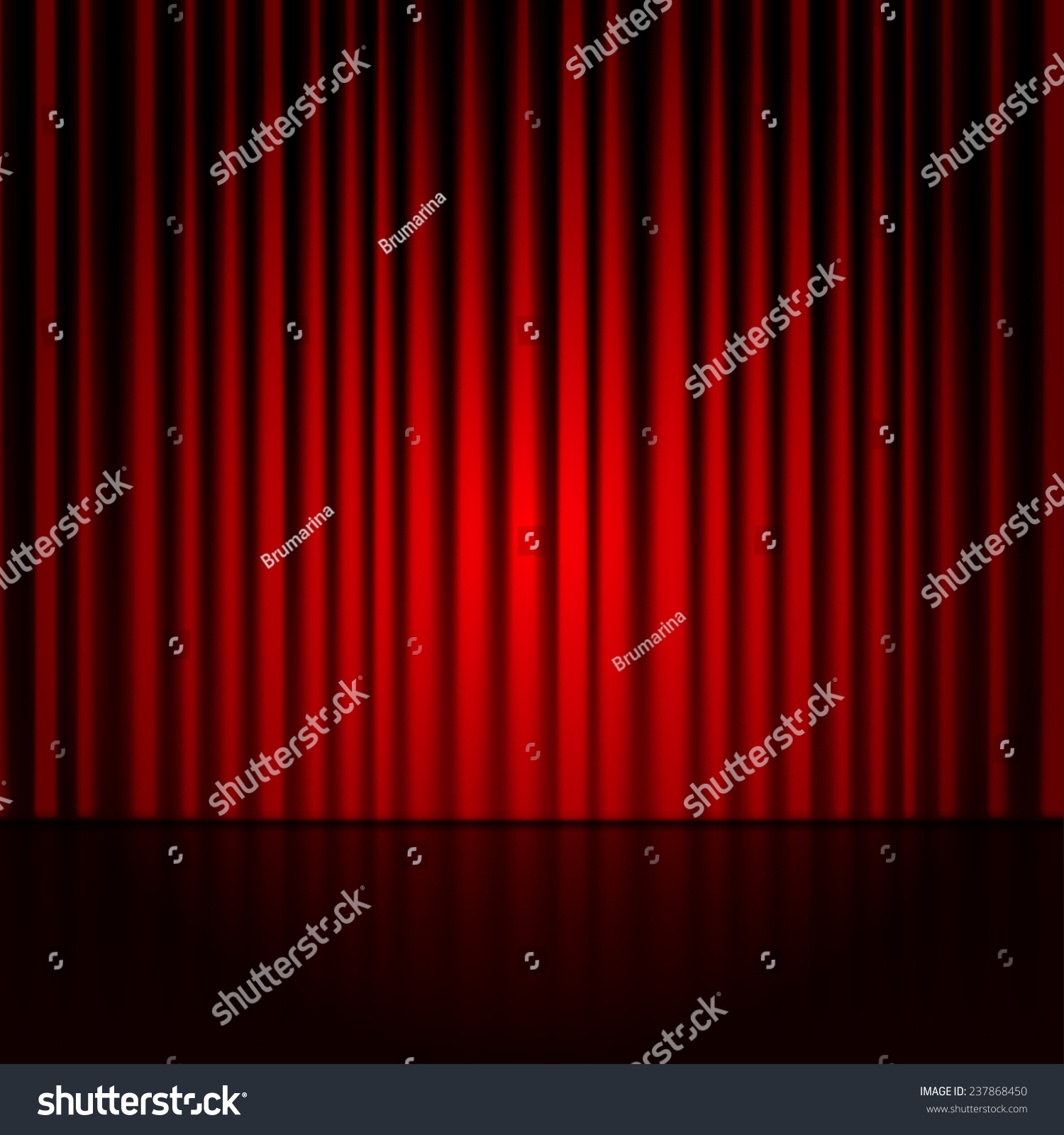 Stage curtains spotlight - Vector Background With Red Curtains Spotlight On Stage Curtain