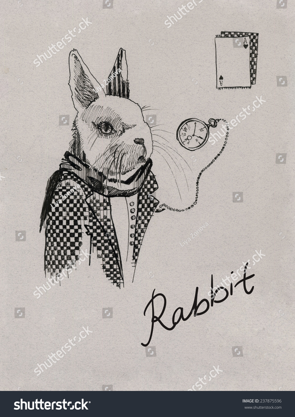 Rabbit From Alice In Wonderland Ink Drawing With Clock And Playing Cards  Black Drawing On