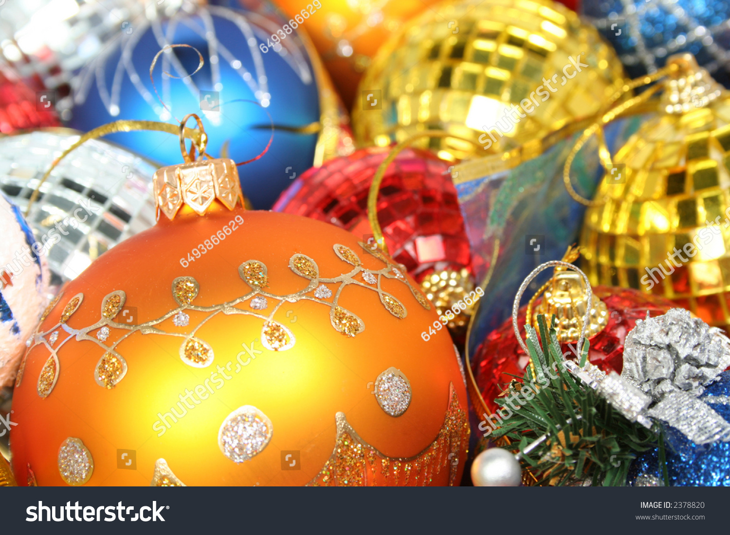 Christmas Ornaments Of Different Color In The Form Of Glass And