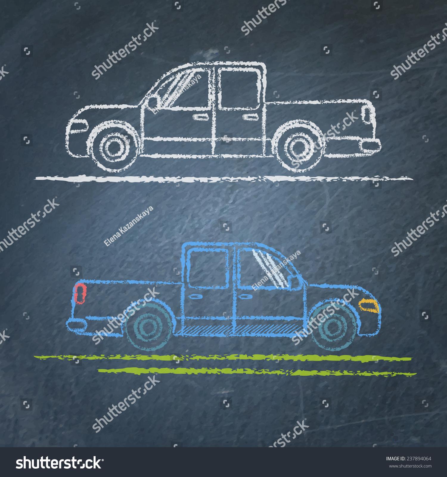 Vector Chalk Sketches Car On Blackboard Stock Vector 237894064 ...