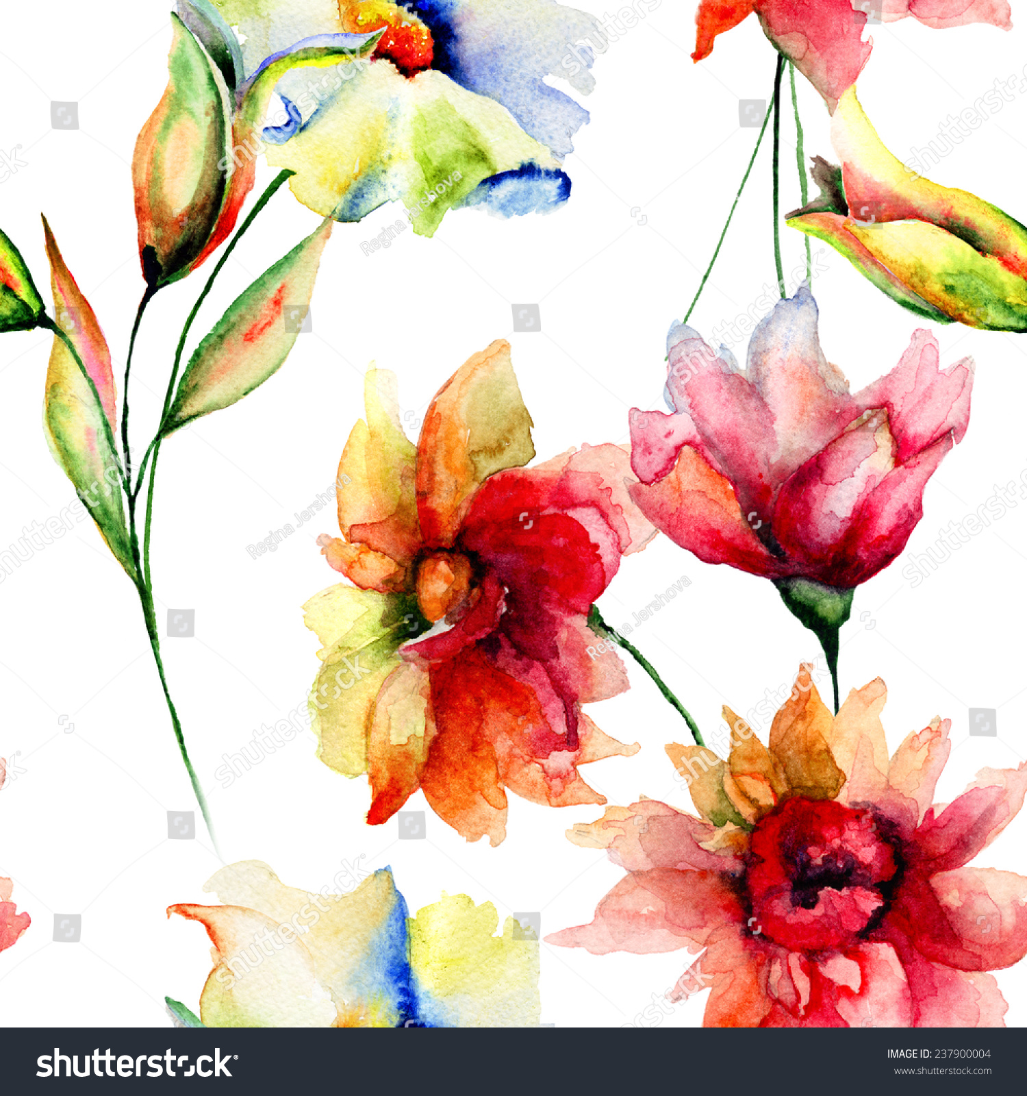 Seamless Wallpaper Colorful Flowers Watercolor Illustration Stock ...