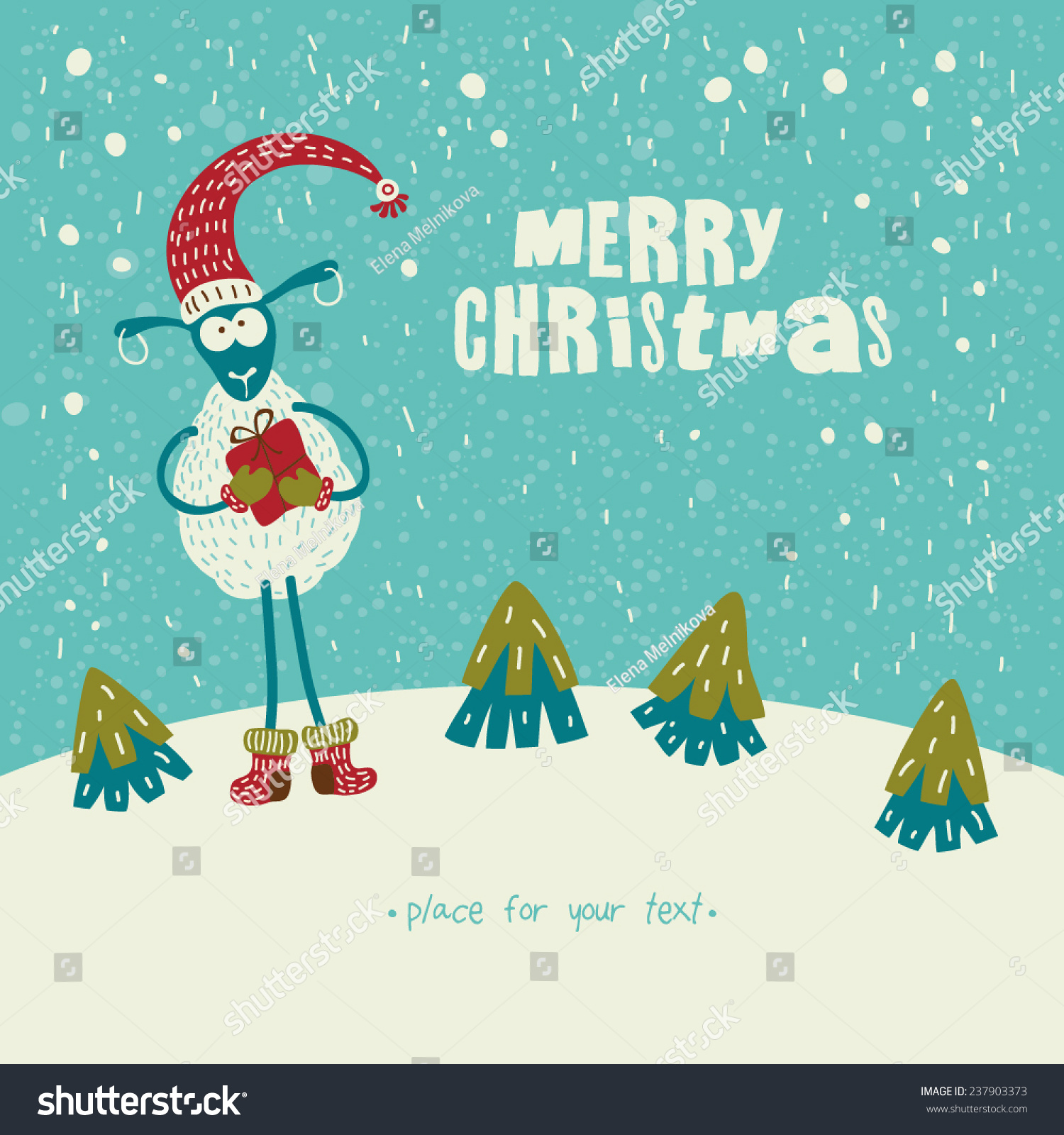 cute sheep for merry christmas happy new year 2015 vector eps 8