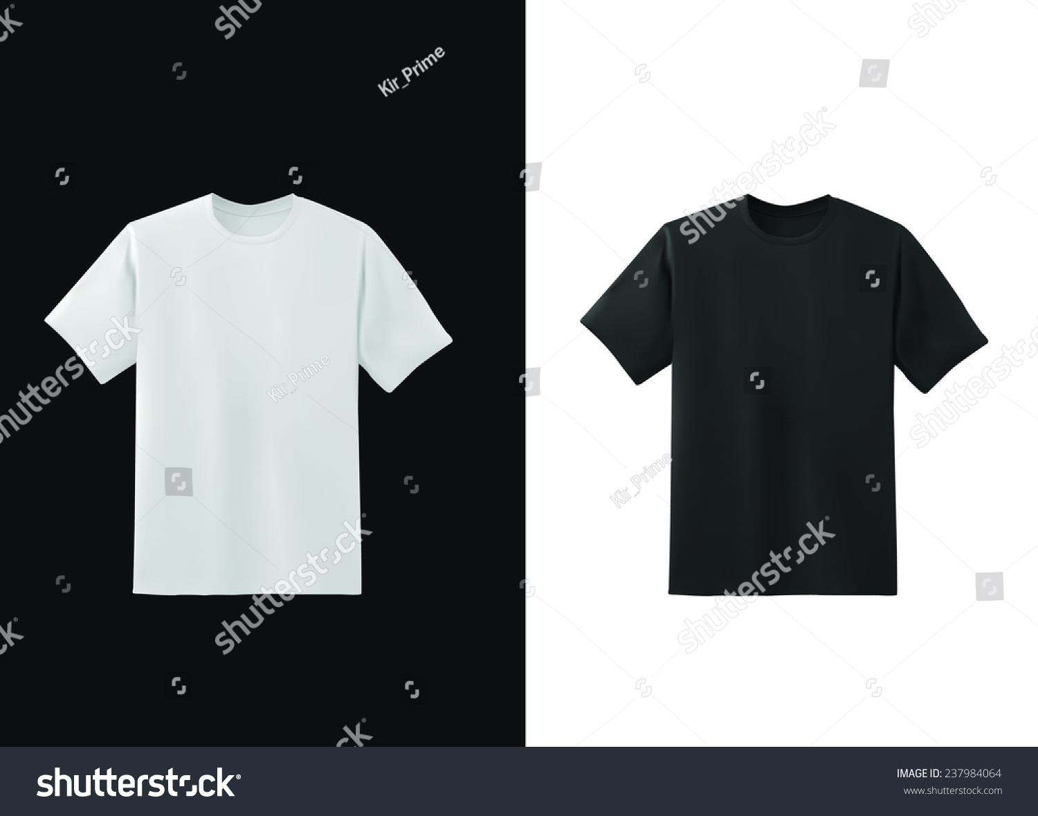 Black t shirt vector template - White And Black T Shirt Template Collection Vector Eps10 Illustration