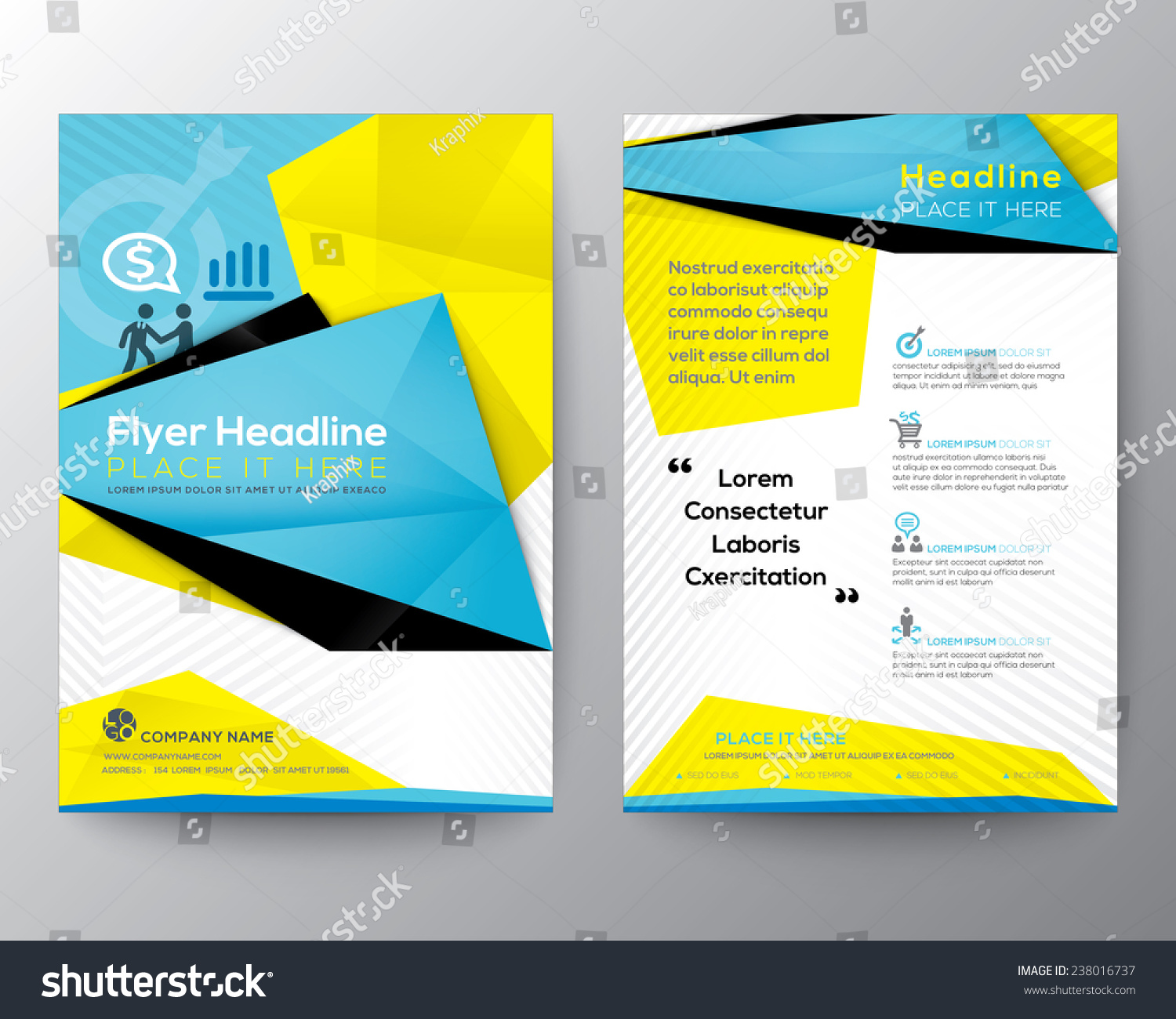 Abstract Triangle Geometric Brochure Flyer Design Vector – Geometric Flyer Template
