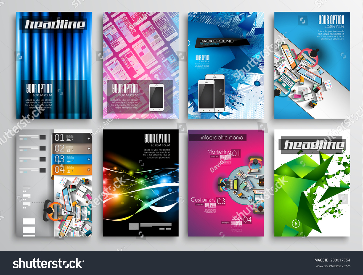 Set flyer design web templates brochure stock illustration for Technology brochure templates