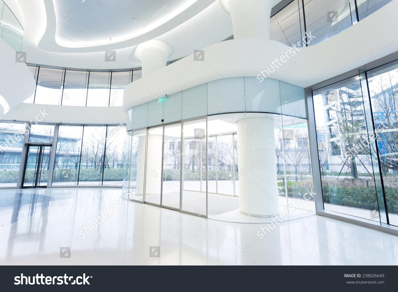 Futuristic modern office building interior urban stock for Modern office building interior
