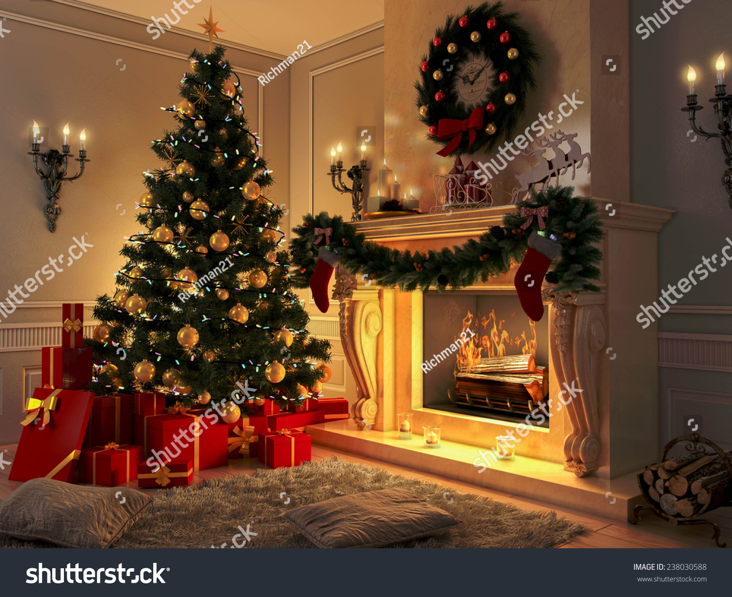 3d rendering new year interior christmas stock illustration 238030588 https www shutterstock com image illustration 3d rendering new year interior christmas 238030588