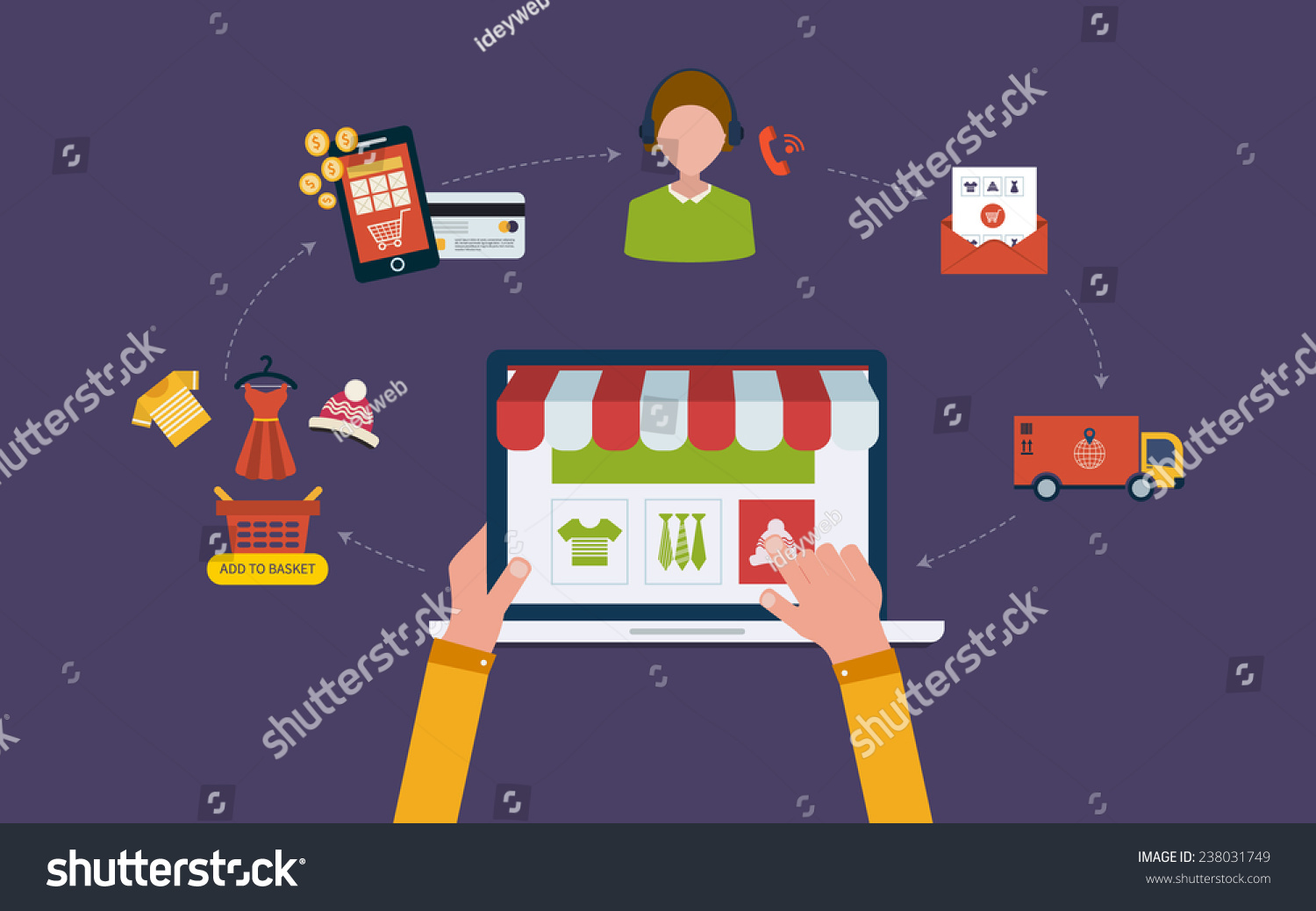 Mobile Marketing Online Store Concept Flat Stock Vector 238031749 ...