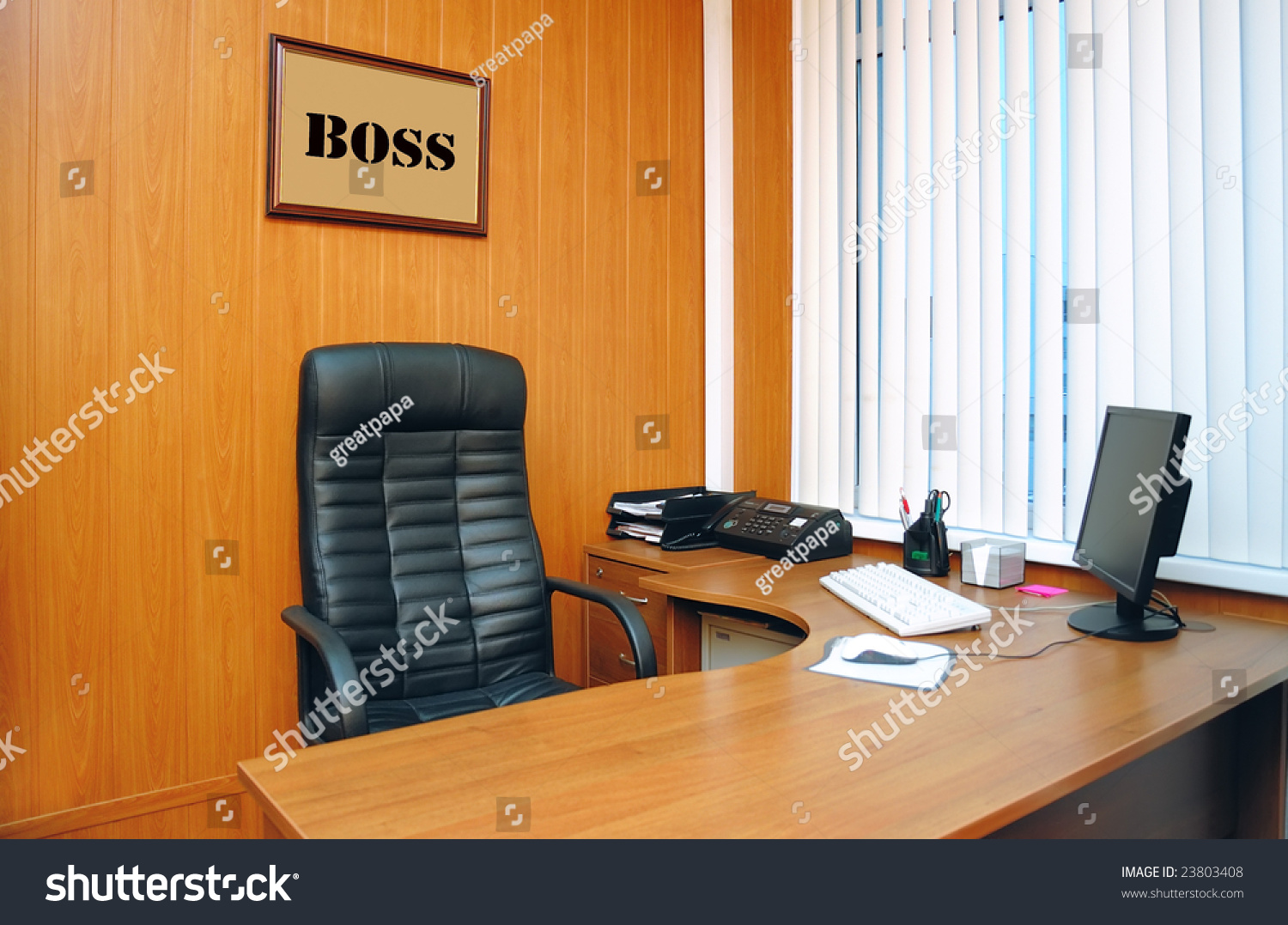 Office Boss Table Monitor Stock Photo 23803408 Shutterstock
