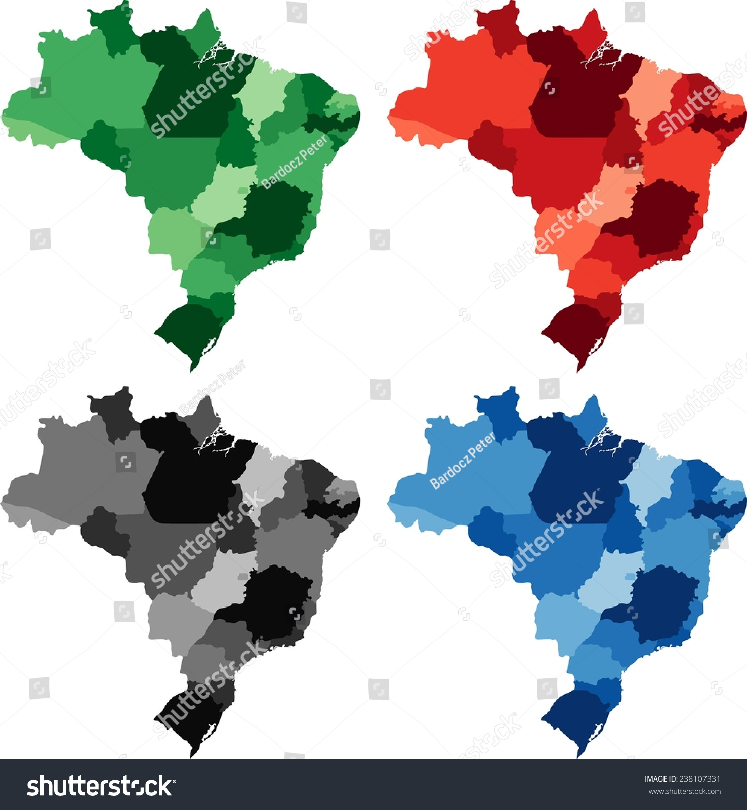 Highly Detailed Brazil Political Map Four Stock Vector - Brazil political map