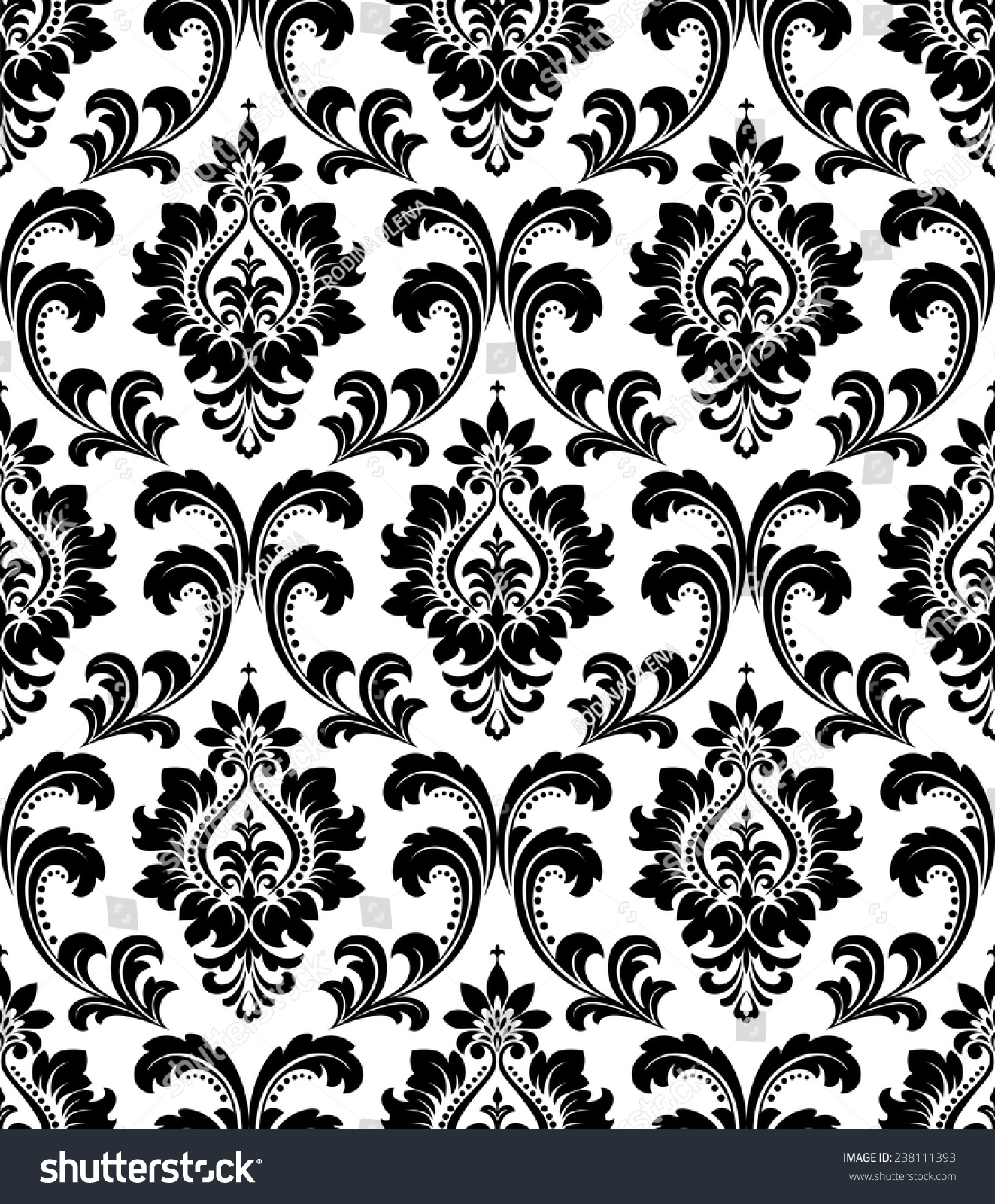 Damask Seamless Floral Pattern Royal Wallpaper Stock Vector Royalty