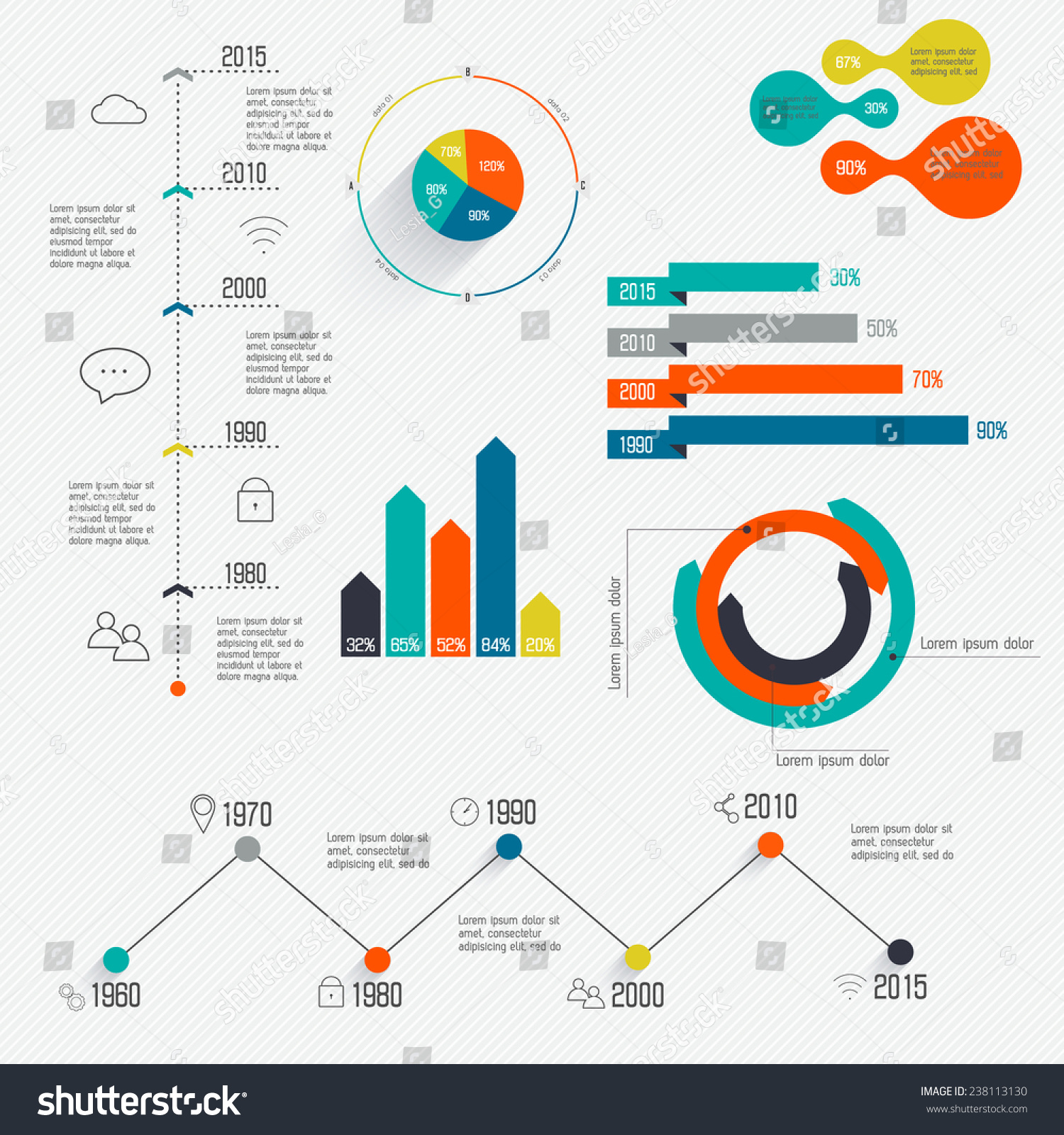 set timeline infographic design templates diagrams stock vector, Powerpoint templates
