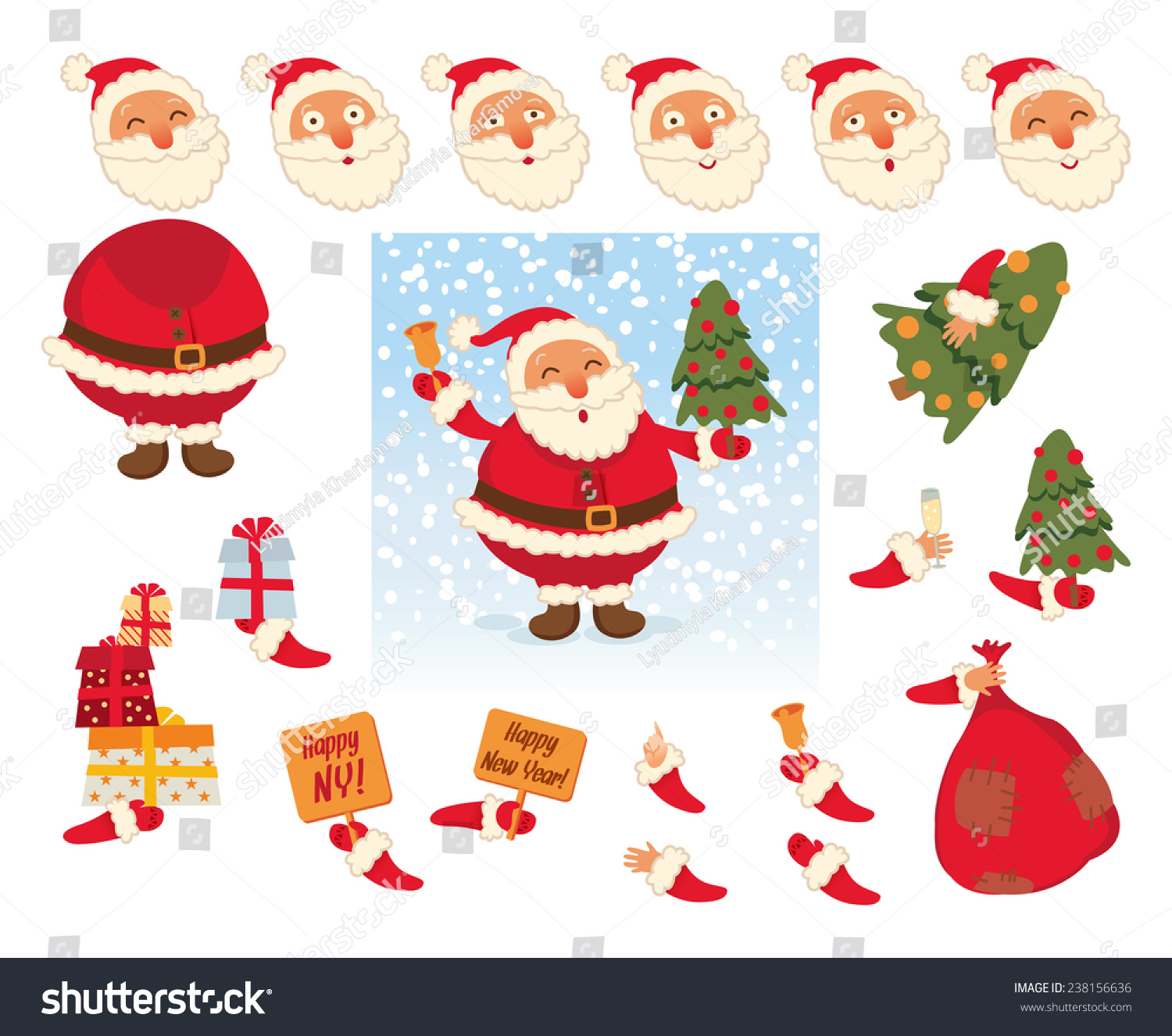 Santa Claus Parts Body Template Design Stock Vector Royalty Free
