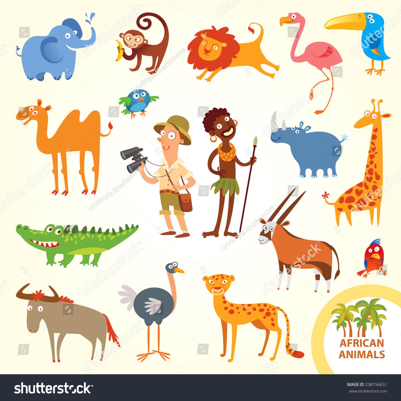 set funny african animals cartoon character stock vector. Black Bedroom Furniture Sets. Home Design Ideas